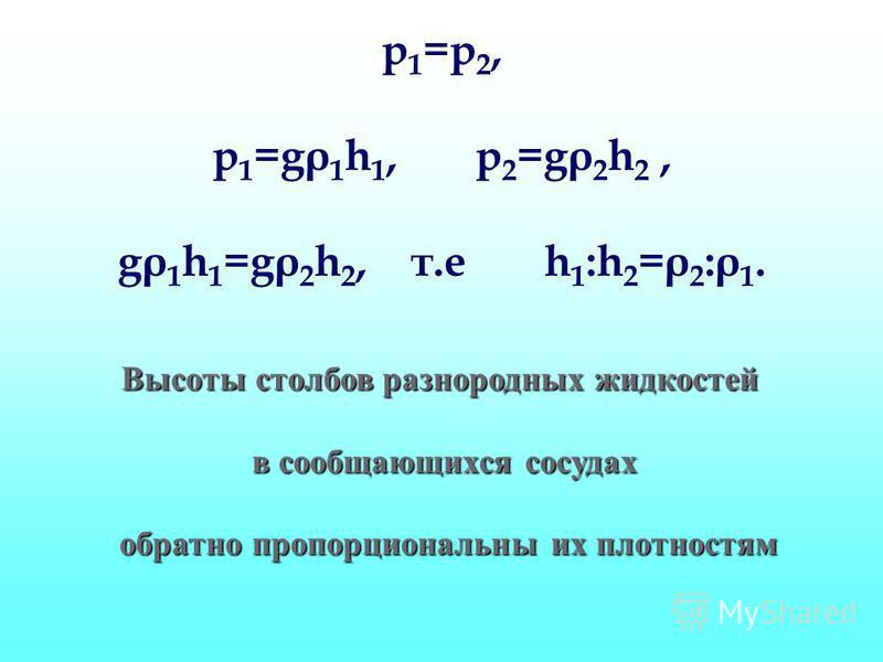 p 1 =p 2, p 1 =gρ 1 h 1, p 2 =gρ 2 h 2, gρ 1 h 1 =gρ 2 h 2, т.е h 1 :h 2 =ρ 2 :ρ 1. Высоты столбов разнородных жидкостей в сообщающихся сосудах обратно пропорциональны их плотностям обратно пропорциональны их плотностям