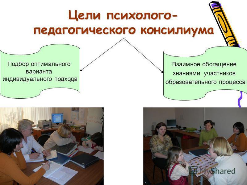 Цели психолого- педагогического консилиума Подбор оптимального варианта индивидуального подхода Взаимное обогащение знаниями участников образовательного процесса