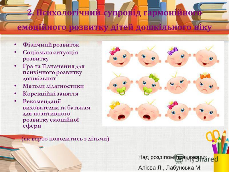 2. Психологічний супровід гармонійного емоційного розвитку дітей дошкільного віку Фізичний розвиток Соціальна ситуація розвитку Гра та її значення для психічного розвитку дошкільнят Методи дідагностики Корекційні заняття Рекомендації вихователям та б
