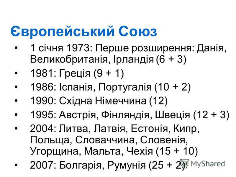 Європейський Союз 1 січня 1973: Перше розширення: Данія, Великобританія, Ірландія(6 + 3) 1981: Греція (9 + 1) 1986: Іспанія, Португалія (10 + 2) 1990: Східна Німеччина (12) 1995: Австрія, Фінляндія, Швеція (12 + 3) 2004: Литва, Латвія, Естонія, Кипр,