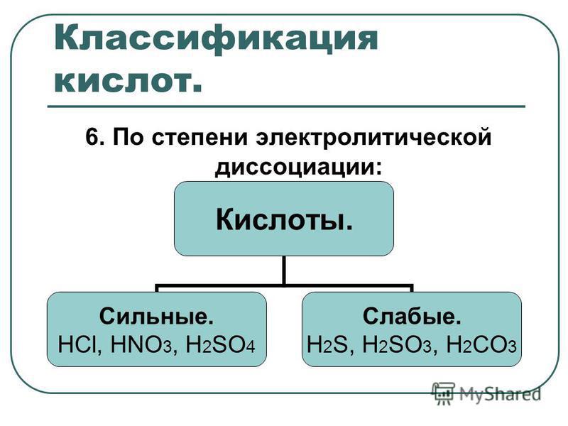 Классификация кислот. 6. По степени электролитической диссоциации: Кислоты. Сильные. HCl, HNO3, Н2SO4 Слабые. Н2S, H2SO3, H2CO3