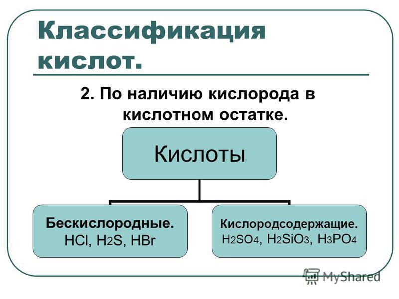 Классификация кислот. 2. По наличию кислорода в кислотном остатке. Кислоты Бескислородные. НСl, H2S, HBr Кислородсодержащие. H2SO4, H2SiO3, H3PO4