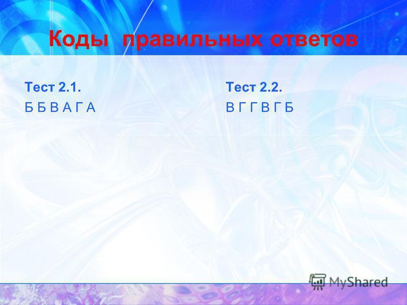 Коды правильных ответов Тест 2.1. Б Б В А Г А Тест 2.2. В Г Г В Г Б