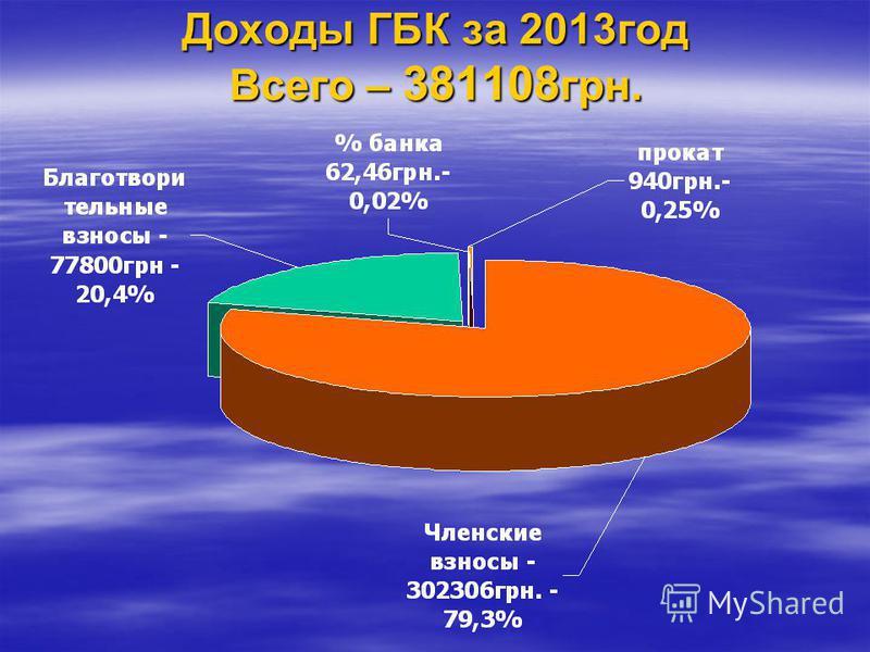Доходы ГБК за 2013 год Всего – 381108 грн.