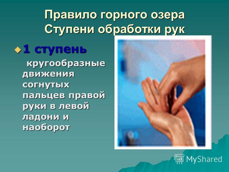 Правило горного озера Ступени обработки рук 1 ступень 1 ступень кругообразные движения согнутых пальцев правой руки в левой ладони и наоборот кругообразные движения согнутых пальцев правой руки в левой ладони и наоборот