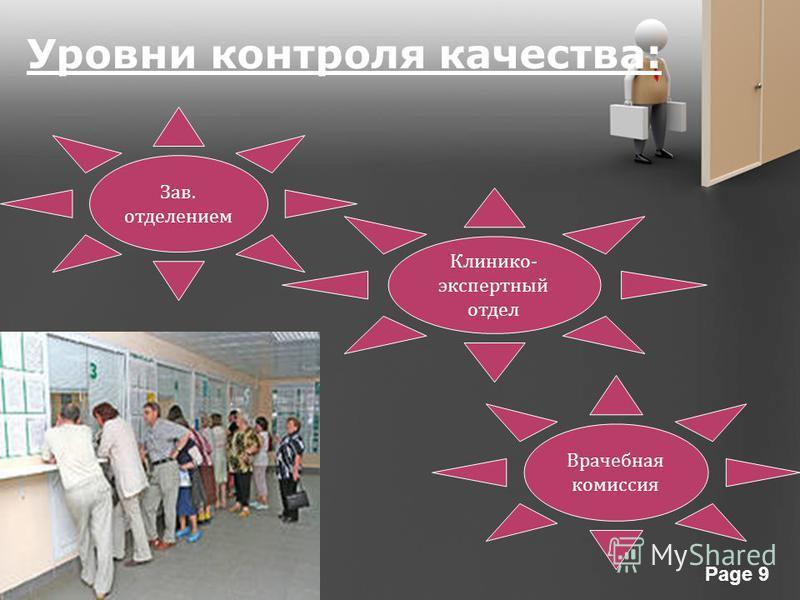 Powerpoint Templates Page 9 Уровни контроля качества: Зав. отделением Клинико - экспертный отдел Врачебная комиссия