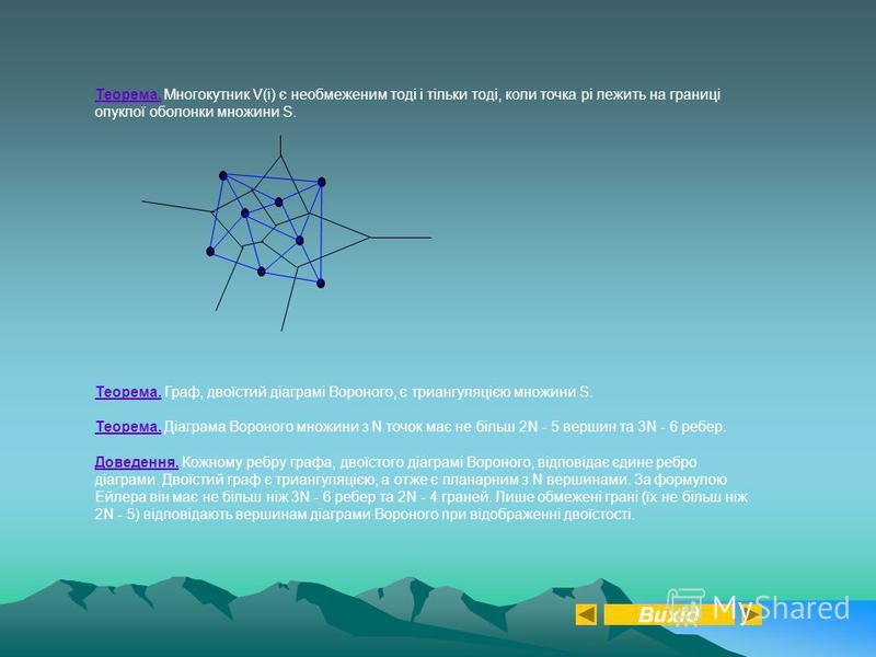 Теорема. Многокутник V(i) є необмеженим тоді і тільки тоді, коли точка pi лежить на границі опуклої оболонки множини S. Теорема. Граф, двоїстий діаграмі Вороного, є триангуляцією множини S. Теорема. Діаграма Вороного множини з N точок має не більш 2N