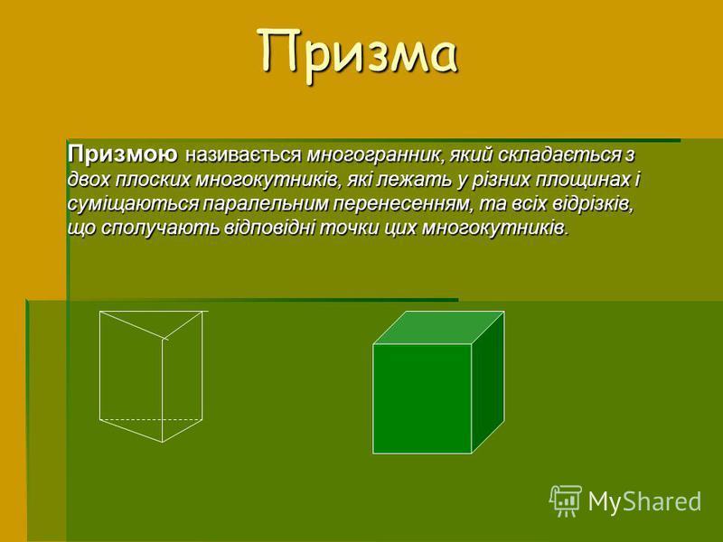 Призма Призмою називається многогранник, який складається з двох плоских многокутників, які лежать у різних площинах і суміщаються паралельним перенесенням, та всіх відрізків, що сполучають відповідні точки цих многокутників.