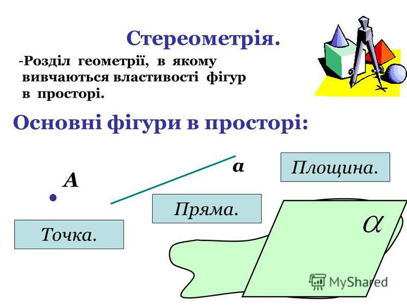 Стереометрія. -Р-Розділ геометрії, в якому вивчаються властивості фігур в просторі. Основні фігури в просторі: А Точка. а Пряма. Площина.