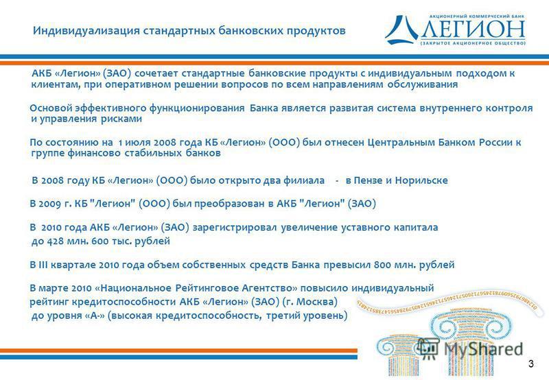 3 Индивидуализация стандартных банковских продуктов АКБ «Легион» (ЗАО) сочетает стандартные банковские продукты с индивидуальным подходом к клиентам, при оперативном решении вопросов по всем направлениям обслуживания Основой эффективного функциониров