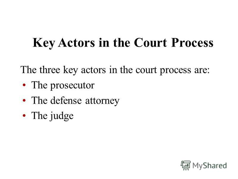 Key Actors in the Court Process The three key actors in the court process are: The prosecutor The defense attorney The judge