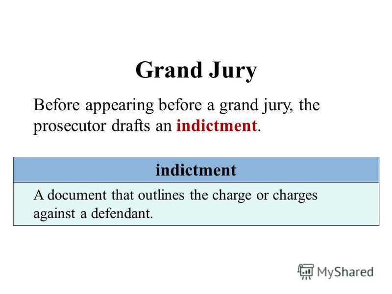 Grand Jury Before appearing before a grand jury, the prosecutor drafts an indictment. indictment A document that outlines the charge or charges against a defendant.