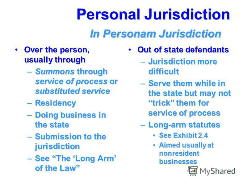 Personal Jurisdiction In Personam Jurisdiction Over the person, usually throughOver the person, usually through –Summons through service of process or substituted service –Residency –Doing business in the state –Submission to the jurisdiction –See Th