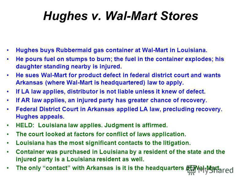 Hughes v. Wal-Mart Stores Hughes buys Rubbermaid gas container at Wal-Mart in Louisiana. He pours fuel on stumps to burn; the fuel in the container explodes; his daughter standing nearby is injured. He sues Wal-Mart for product defect in federal dist