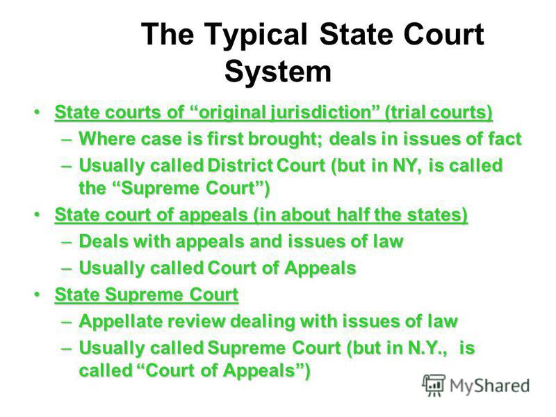 The Typical State Court System State courts of original jurisdiction (trial courts)State courts of original jurisdiction (trial courts) –Where case is first brought; deals in issues of fact –Usually called District Court (but in NY, is called the Sup