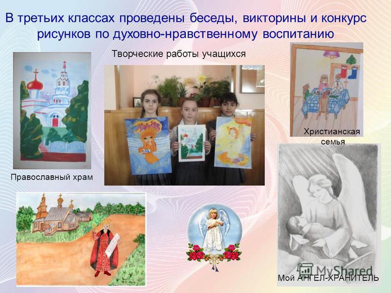 В третьих классах проведены беседы, викторины и конкурс рисунков по духовно-нравственному воспитанию Творческие работы учащихся Христианская семья Православный храм Мой АНГЕЛ-ХРАНИТЕЛЬ