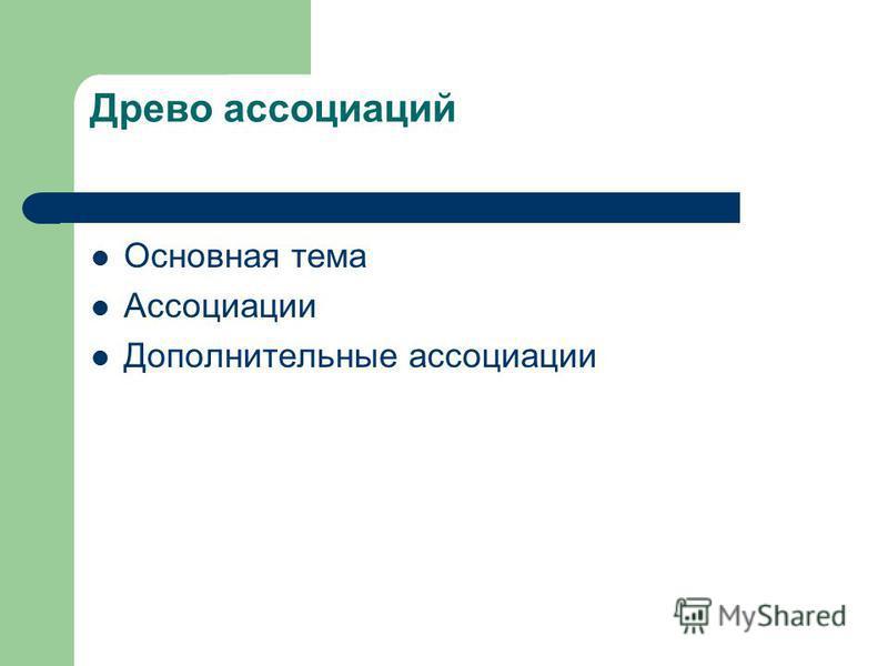 Древо ассоциаций Основная тема Ассоциации Дополнительные ассоциации