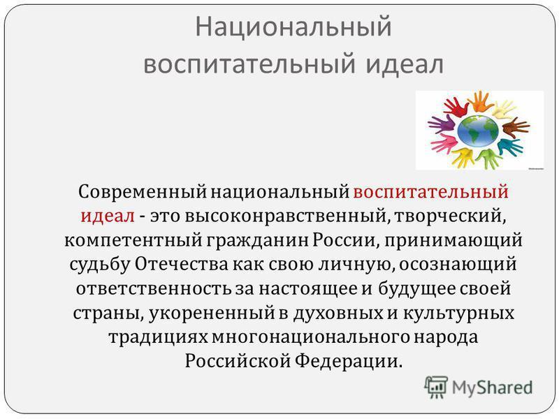 Национальный воспитательный идеал Современный национальный воспитательный идеал - это высоконравственный, творческий, компетентный гражданин России, принимающий судьбу Отечества как свою личную, осознающий ответственность за настоящее и будущее своей
