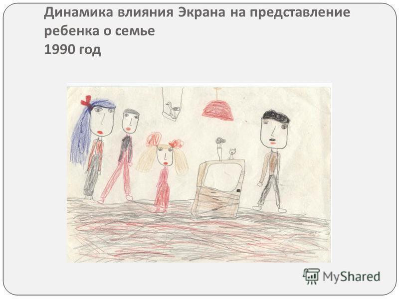 Динамика влияния Экрана на представление ребенка о семье 1990 год