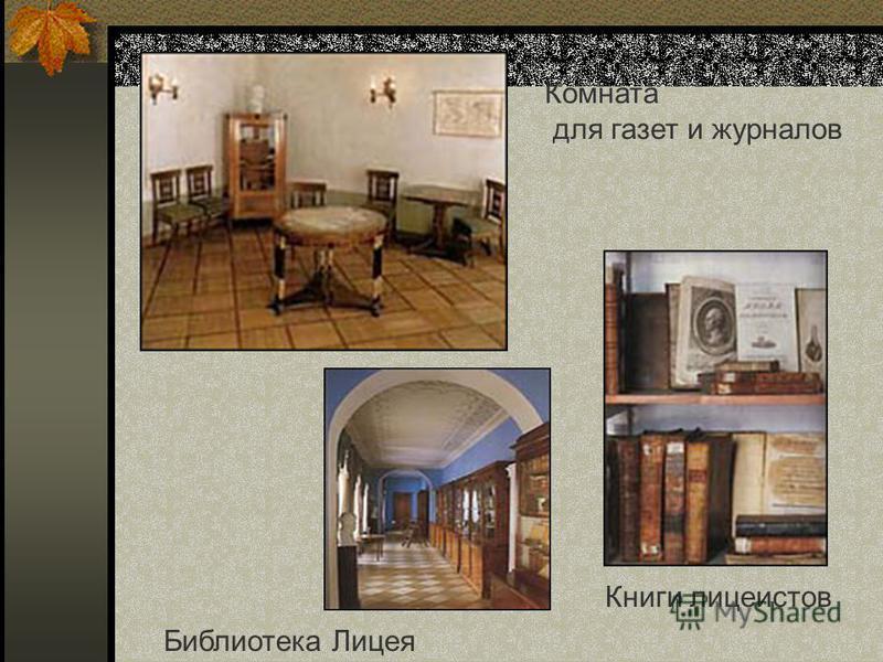 Комната для газет и журналов Библиотека Лицея Книги лицеистов