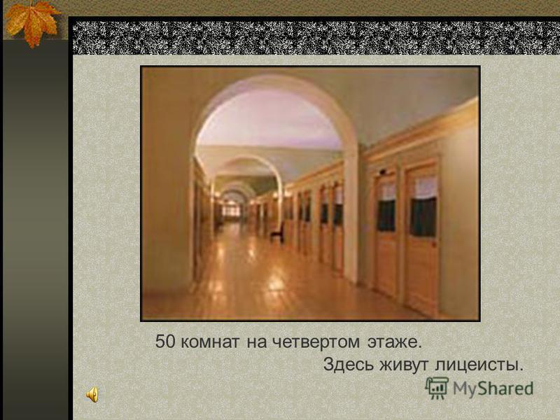 50 комнат на четвертом этаже. Здесь живут лицеисты.
