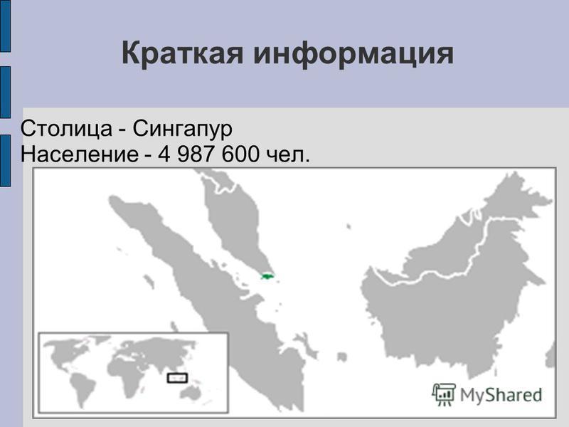 Краткая информация Столица - Сингапур Население - 4 987 600 чел.