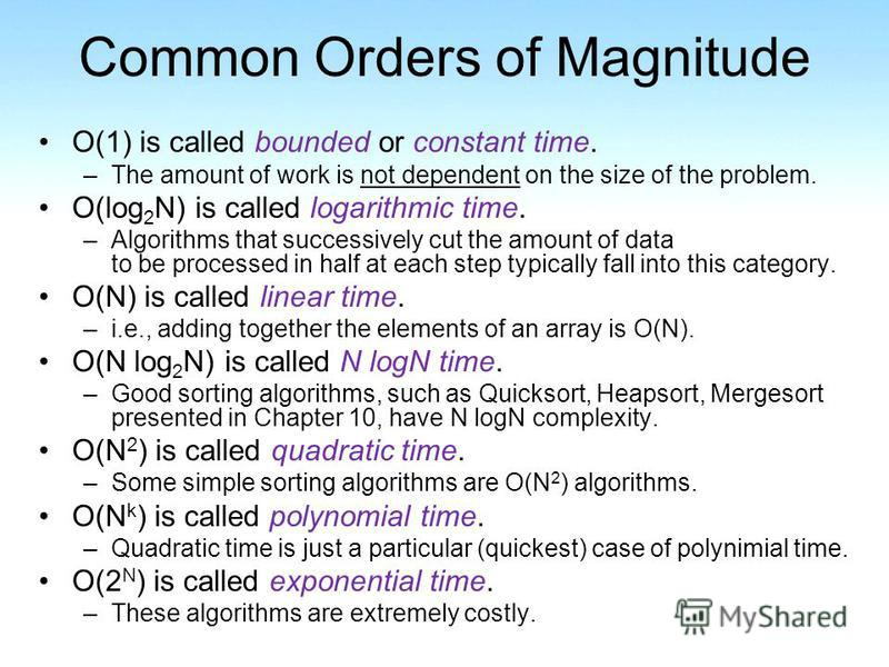 Common Orders of Magnitude O(1) is called bounded or constant time. –The amount of work is not dependent on the size of the problem. O(log 2 N) is called logarithmic time. –Algorithms that successively cut the amount of data to be processed in half a