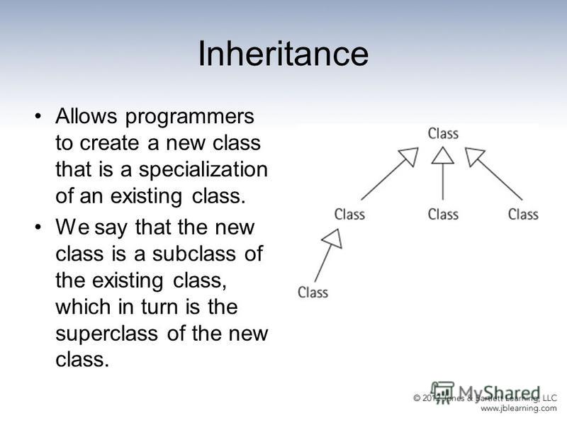 Inheritance Allows programmers to create a new class that is a specialization of an existing class. We say that the new class is a subclass of the existing class, which in turn is the superclass of the new class.