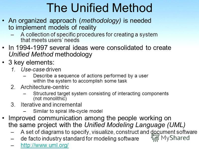 The Unified Method An organized approach (methodology) is needed to implement models of reality –A collection of specific procedures for creating a system that meets users needs In 1994-1997 several ideas were consolidated to create Unified Method me