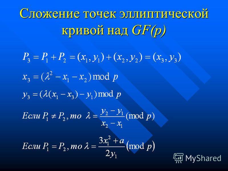 Сложение точек эллиптической кривой над GF(p)