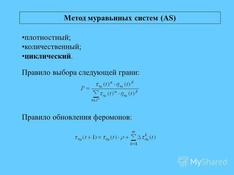 Метод муравьиных систем (AS) плотностный; количественный; циклический. Правило выбора следующей грани: Правило обновления феромонов: