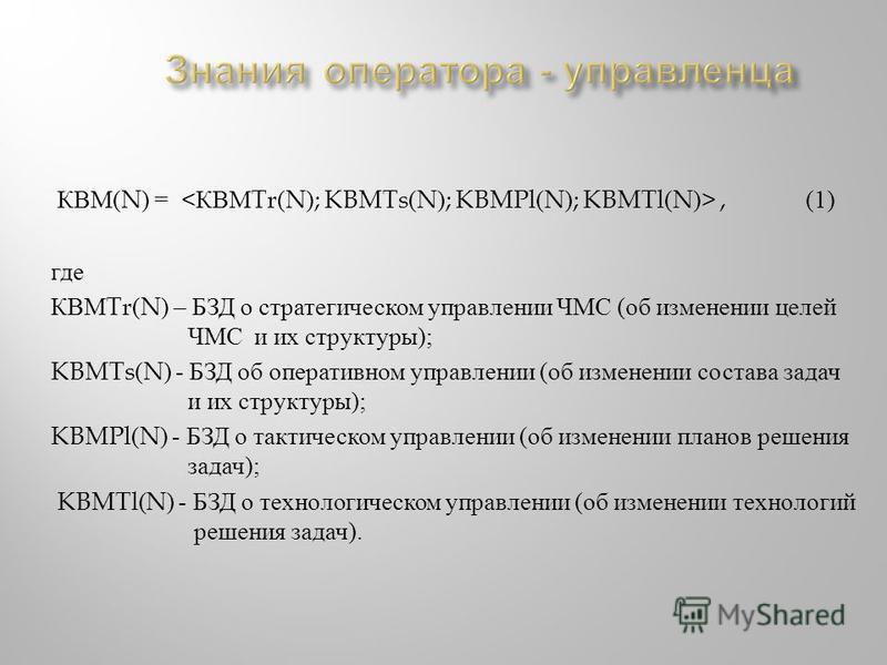 КВМ (N) =, (1) где КВМ Tr(N) – БЗД о стратегическом управлении ЧМС ( об изменении целей ЧМС и их структуры ); KBMTs(N) - БЗД об оперативном управлении ( об изменении состава задач и их структуры ); KBMPl(N) - БЗД о тактическом управлении ( об изменен