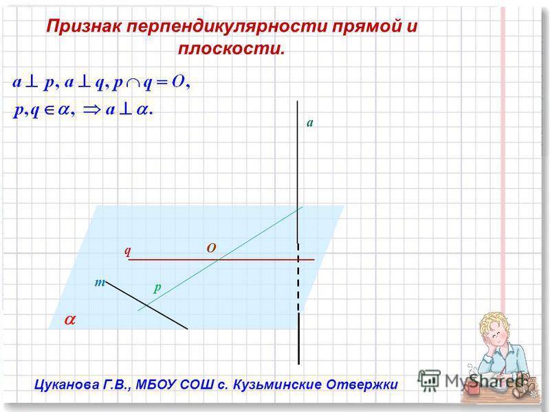 q p O m a Признак перпендикулярности прямой и плоскости. Цуканова Г.В., МБОУ СОШ с. Кузьминские Отвержки