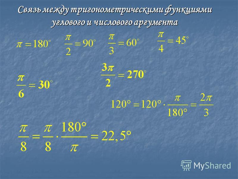 Связь между тригонометрическими функциями углового и числового аргумента