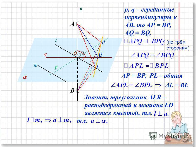 q p O m l a P Q L p, q – серединные перпендикуляры к АВ, то АР = ВР, AQ = BQ. (по трём сторонам) АР = ВР, PL – общая АL = ВL Значит, треугольник АLВ – равнобедренный и медиана LO является высотой, т.е. т.е.