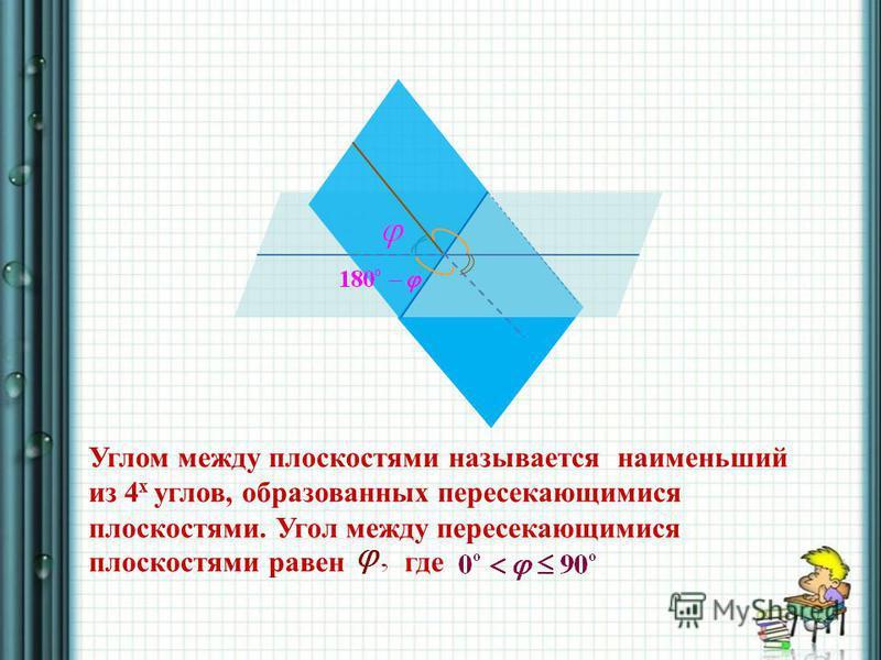 Углом между плоскостями называется наименьший из 4 х углов, образованных пересекающимися плоскостями. Угол между пересекающимися плоскостями равен где