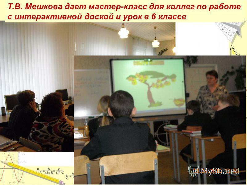 Т.В. Мешкова дает мастер-класс для коллег по работе с интерактивной доской и урок в 6 классе