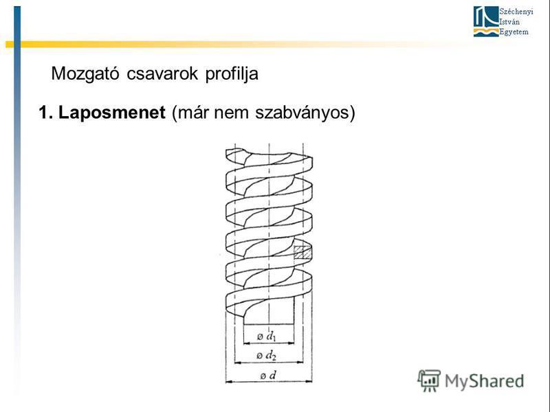 Mozgató csavarok profilja 1. Laposmenet (már nem szabványos)
