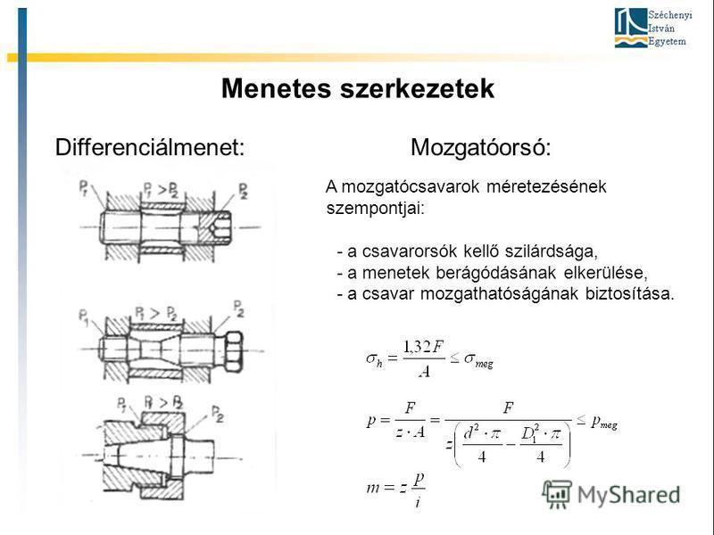 Menetes szerkezetek Gépszerkezettan II A mozgatócsavarok méretezésének szempontjai: - a csavarorsók kellő szilárdsága, - a menetek berágódásának elkerülése, - a csavar mozgathatóságának biztosítása. Differenciálmenet: Mozgatóorsó: