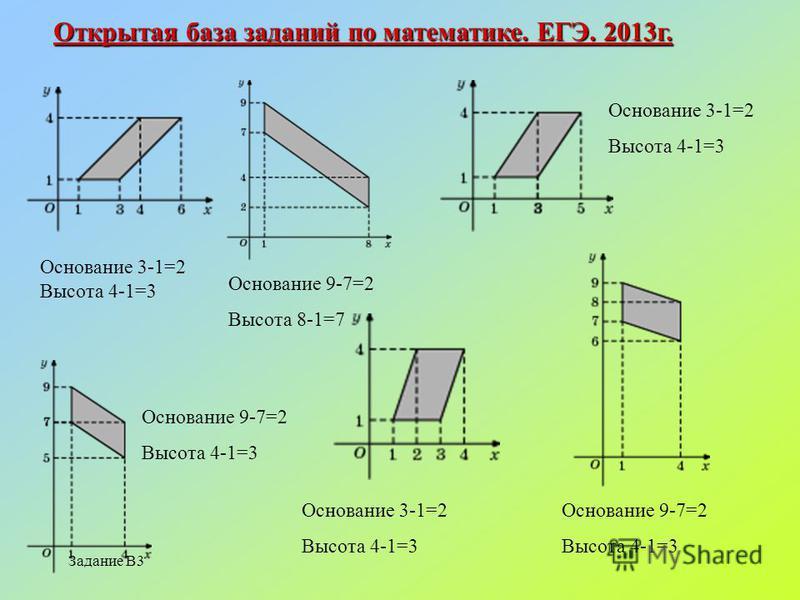 Задание В3 Открытая база заданий по математике. ЕГЭ. 2013 г. Основание 3-1=2 Высота 4-1=3 Основание 9-7=2 Высота 8-1=7 Основание 9-7=2 Высота 4-1=3 Основание 3-1=2 Высота 4-1=3 Основание 9-7=2 Высота 4-1=3 Основание 3-1=2 Высота 4-1=3