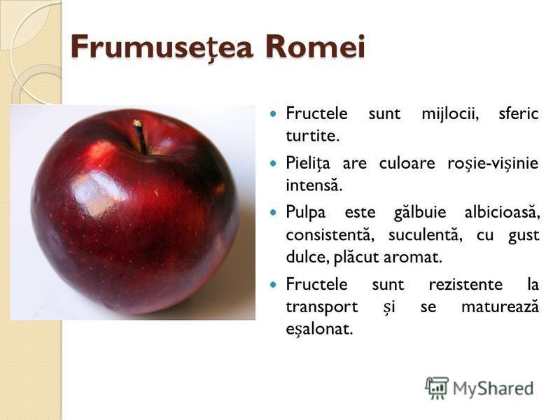 Frumuseea Romei Fructele sunt mijlocii, sferic turtite. Pielia are culoare roie-viinie intens ă. Pulpa este g ă lbuie albicioas ă, consistent ă, suculent ă, cu gust dulce, pl ă cut aromat. Fructele sunt rezistente la transport i se matureaz ă ealonat