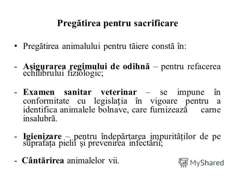 Pregătirea pentru sacrificare Pregătirea animalului pentru tăiere constă în: -Asigurarea regimului de odihnă – pentru refacerea echilibrului fiziologic; -Examen sanitar veterinar – se impune în conformitate cu legislaia în vigoare pentru a identifica