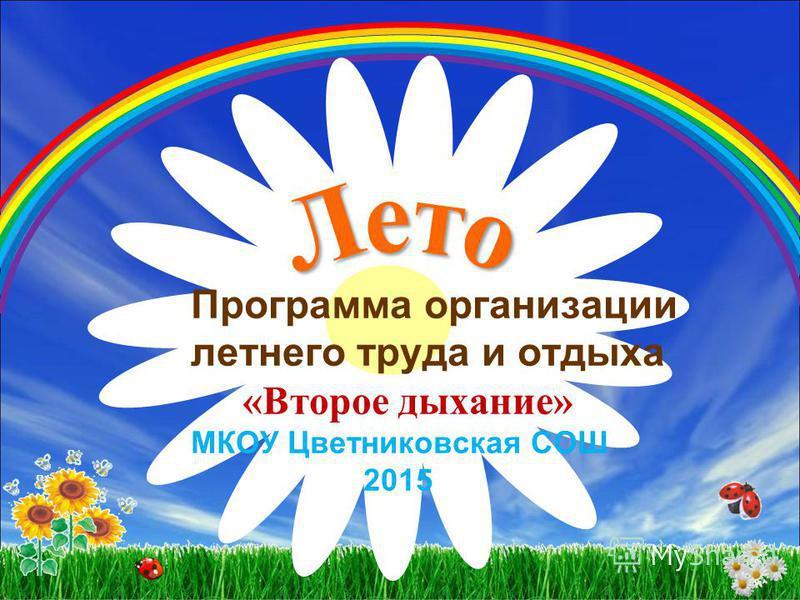 Программа организации летнего труда и отдыха «Второе дыхание» МКОУ Цветниковская СОШ 2015