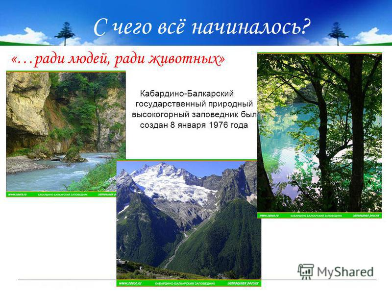 С чего всё начиналось? Кабардино-Балкарский государственный природный высокогорный заповедник был создан 8 января 1976 года «…ради людей, ради животных»
