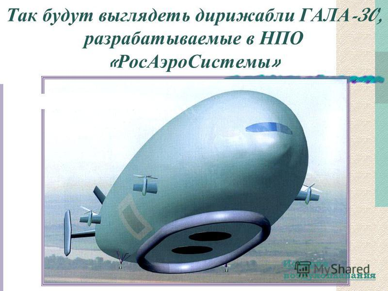 Так будут выглядеть дирижабли ГАЛА -30, разрабатываемые в НПО « Рос АэроСистемы » История воздухоплавания