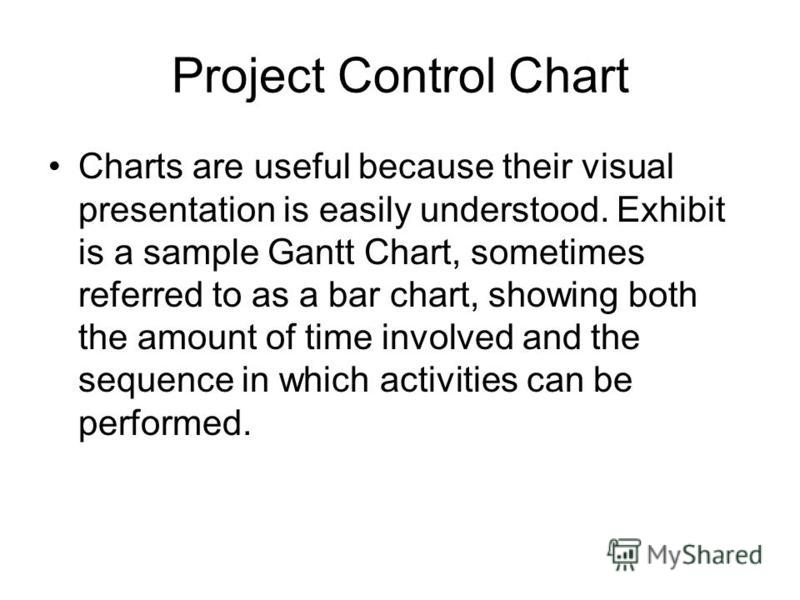 Project Control Chart Charts are useful because their visual presentation is easily understood. Exhibit is a sample Gantt Chart, sometimes referred to as a bar chart, showing both the amount of time involved and the sequence in which activities can b