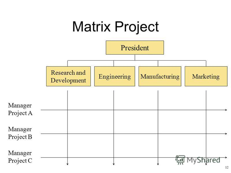 12 Matrix Project President Research and Development EngineeringManufacturingMarketing Manager Project A Manager Project B Manager Project C