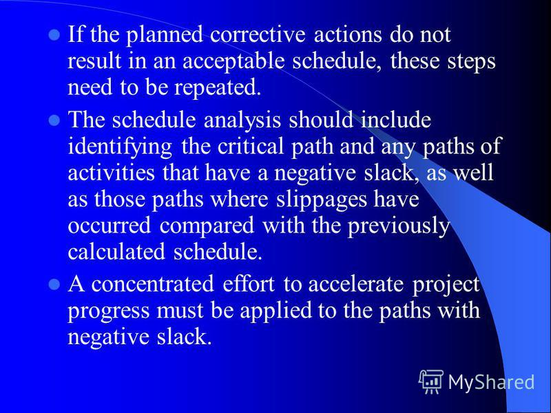 If the planned corrective actions do not result in an acceptable schedule, these steps need to be repeated. The schedule analysis should include identifying the critical path and any paths of activities that have a negative slack, as well as those pa