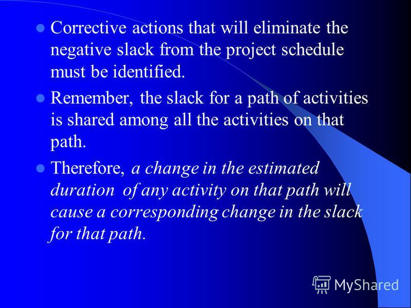 Corrective actions that will eliminate the negative slack from the project schedule must be identified. Remember, the slack for a path of activities is shared among all the activities on that path. Therefore, a change in the estimated duration of any