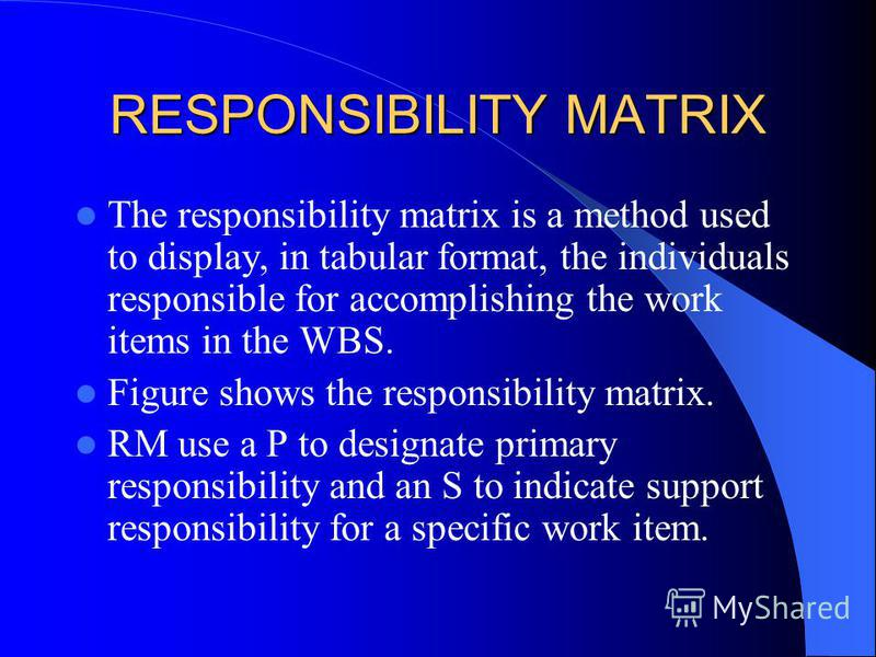 RESPONSIBILITY MATRIX The responsibility matrix is a method used to display, in tabular format, the individuals responsible for accomplishing the work items in the WBS. Figure shows the responsibility matrix. RM use a P to designate primary responsib